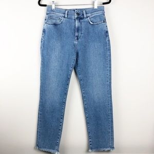 NWT Theory Frayed Hem Cropped Straight Jeans